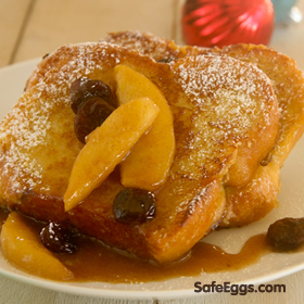 @ louisemellor's Apple Brandy Eggnog French Toast w/Apples & Cherries - unique brunch recipe. Christmas breakfast?