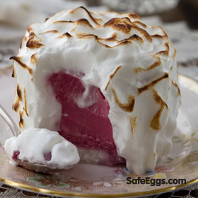 Baked Alaska recipe - The raw eggs are safe when you use @ SafeEggs!