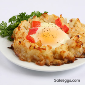 This Baked Eggs Potato Nest recipe is elegant and simple!