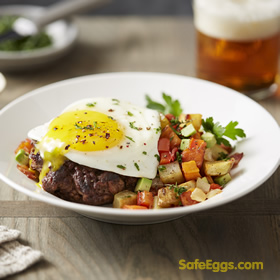 #burgerbowl with potato hash recipe is so delicious! you won't miss the bun! @safeeggs