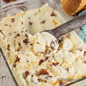 Buttered pecan ice cream recipe is simple and delicious. Top with caramel for an even more decadent ice cream.