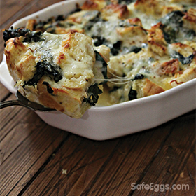 This cheesy spinach strata recipe is perfect for busy mornings. Pop it in the oven after chilling overnight for an easy breakfast.