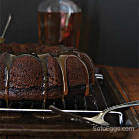 This chocolate bourbon bundt cake recipe is topped with caramel sauce topping! YUM!