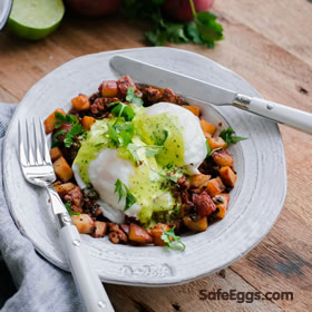 This chorizo & potato hash eggs Benedict with cilantro Hollandaise recipe is an exciting, delicious twist on tradition.