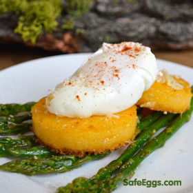 The poached eggs make the perfect sauce for the hearty polenta cakes & asparagus in this recipe!