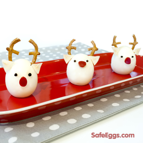 fun egg reindeer recipe! make with @safeeggs hard-boiled eggs to make it quick and easy!