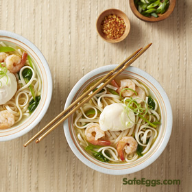 egg-topped Asian noodle #soup recipe combines two Asian favorites: noodle soup and egg-drop soup