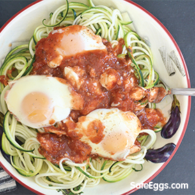 You'll love this eggs with zoodles recipe. Baked eggs and tomatoes are especially scrumptious served atop zucchini noodles.