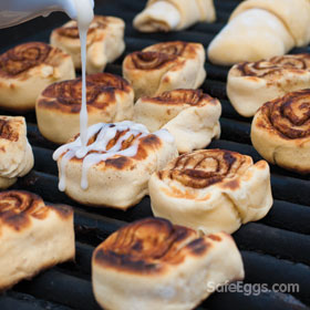 Grilled cinnamon rolls recipe is perfect for summer cookouts!