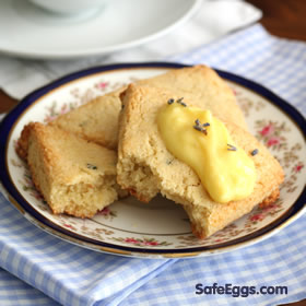 Light, flaky, and sweet lavender scones with lemon curd recipe!