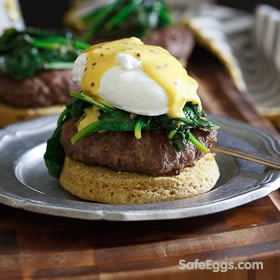 This open faced burger eggs benedict #recipe is great for brunch or filling enough for dinner!