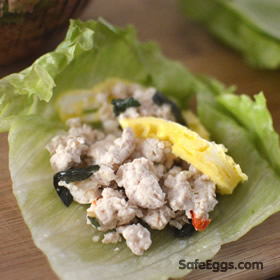 Paleo basil chicken and eggs lettuce wrap recipe is refreshingly unique!
