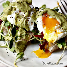 poached eggs on sourdough w/avocado cilantro sauce recipe is delicious and nutritious!