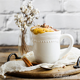 this pumpkin spice mug cake is kid-friendly and fast and easy!  A few mintues is all you need to have a warm tasty pumpkin cake!