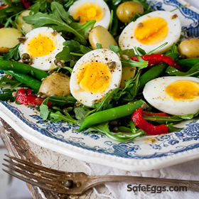 Homemade Roasted Red Pepper and Potato Egg Salad with Red Wine Caper Vinaigrette recipe - full of flavor and satisfying.