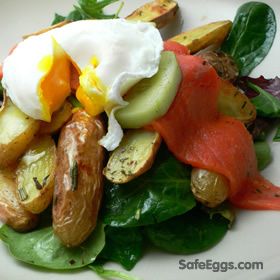 Two-Smoked Salmon, Baby Spinach, Potatoes, and Poached Egg recipe - a Romantic Breakfast for two.