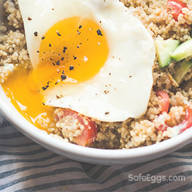 Sunny Greek quinoa breakfast bowl recipe is fast and easy, as well as delicious and nutritious!