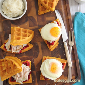 Pumpkin Waffle Thanksgiving Leftover Breakfast Sandwiches